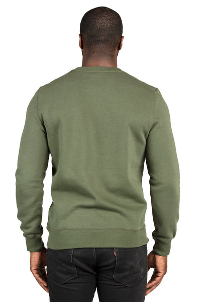 Threadfast Apparel 320C Mens Ultimate Fleece Crewneck Sweatshirt Army Green Back