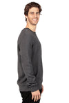 Threadfast Apparel 320C Mens Ultimate Fleece Crewneck Sweatshirt Heather Charcoal Grey Side