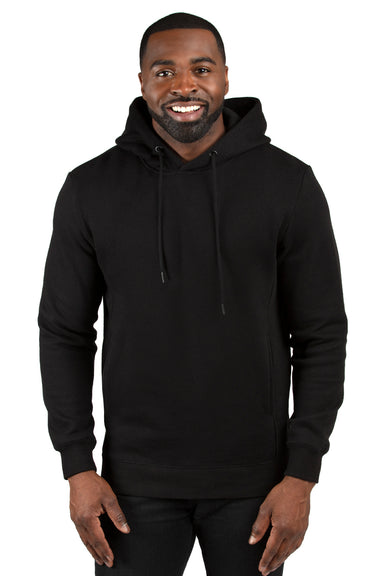 Threadfast Apparel 320H Mens Ultimate Fleece Hooded Sweatshirt Hoodie Black Front