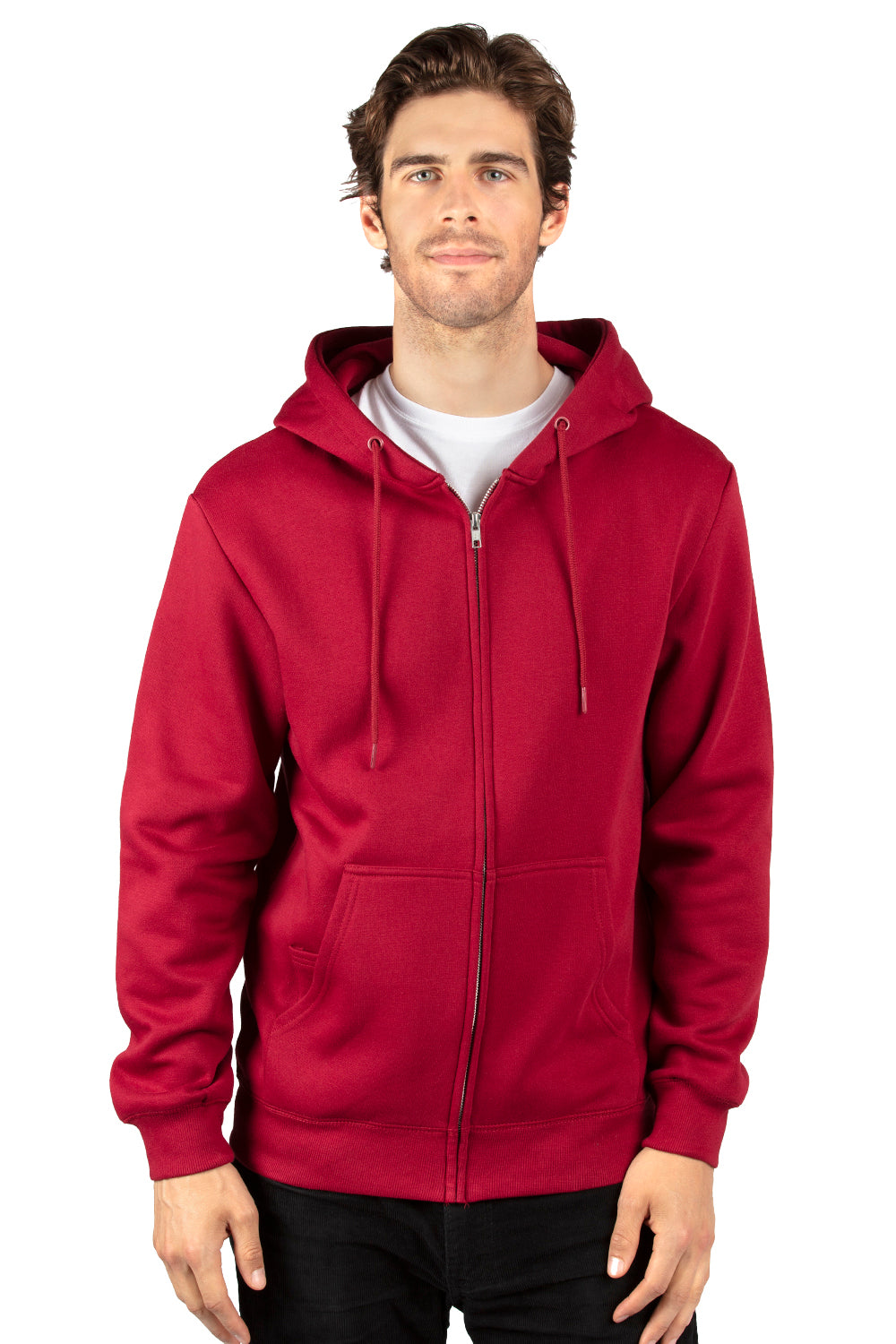 Threadfast Apparel 320Z Mens Ultimate Fleece Full Zip Hooded Sweatshirt Hoodie Burgundy Front