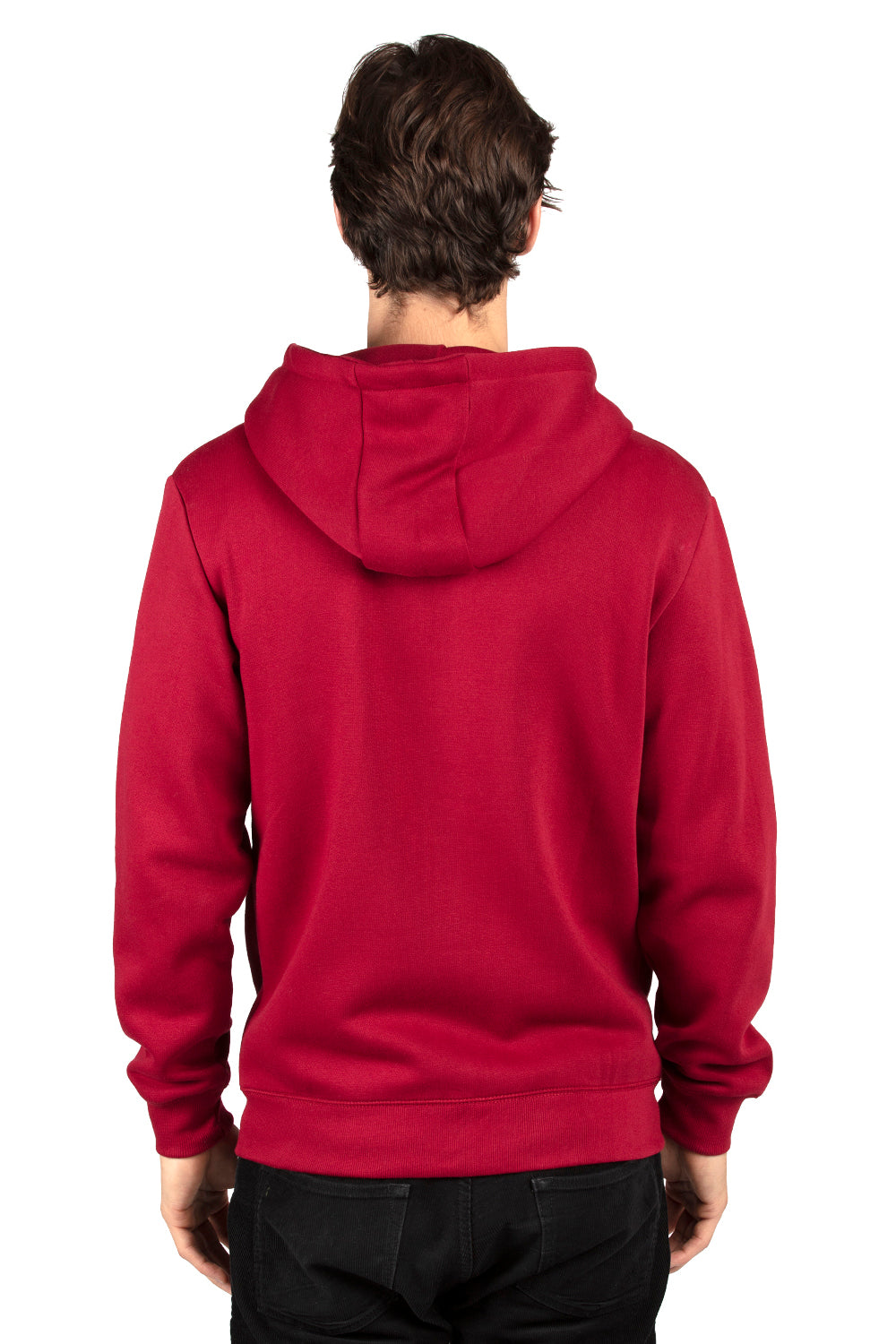 Threadfast Apparel 320Z Mens Ultimate Fleece Full Zip Hooded Sweatshirt Hoodie Burgundy Back
