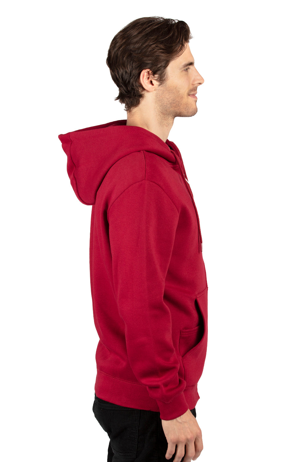 Threadfast Apparel 320Z Mens Ultimate Fleece Full Zip Hooded Sweatshirt Hoodie Burgundy Side