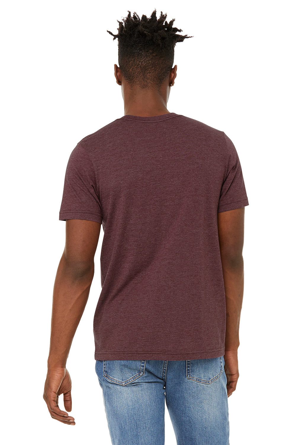 Bella + Canvas BC3301 Jersey Short Sleeve Crewneck T-Shirt Heather Maroon Back