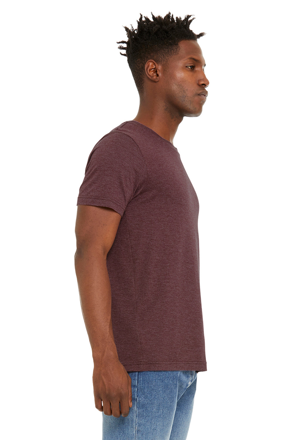 Bella + Canvas BC3301 Jersey Short Sleeve Crewneck T-Shirt Heather Maroon Side