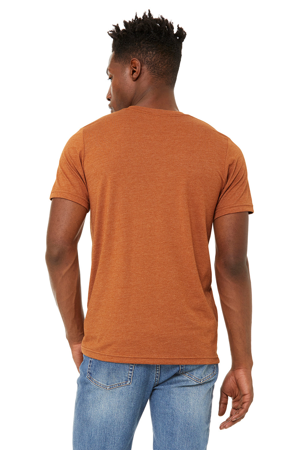 Bella + Canvas BC3301 Jersey Short Sleeve Crewneck T-Shirt Heather Autumn Orange Back