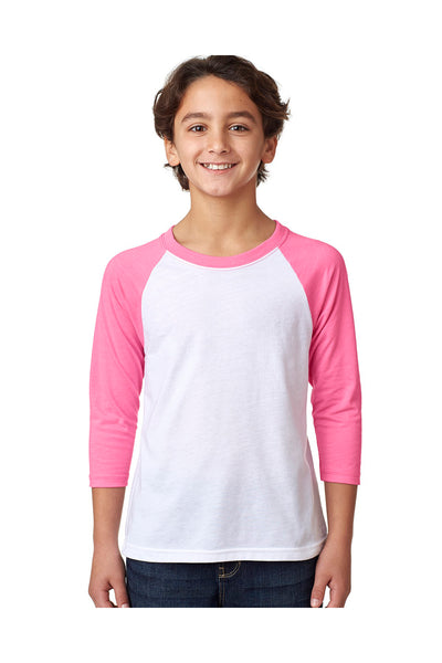 Next Level 3352 Youth CVC Jersey 3/4 Sleeve Crewneck T-Shirt White/Hot Pink Front