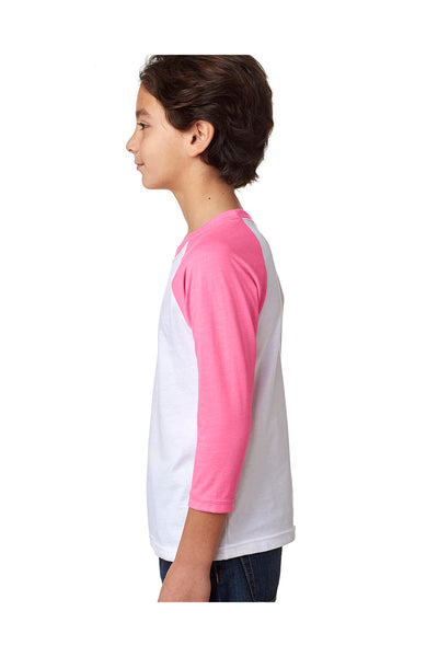 Next Level 3352 Youth CVC Jersey 3/4 Sleeve Crewneck T-Shirt White/Hot Pink Side