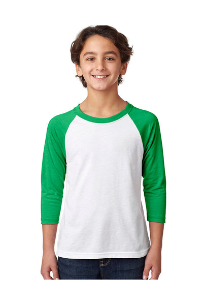 Next Level 3352 Youth CVC Jersey 3/4 Sleeve Crewneck T-Shirt White/Kelly Green Front