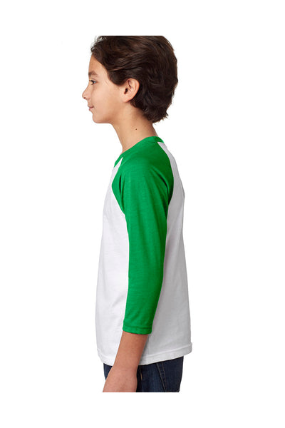 Next Level 3352 Youth CVC Jersey 3/4 Sleeve Crewneck T-Shirt White/Kelly Green Side