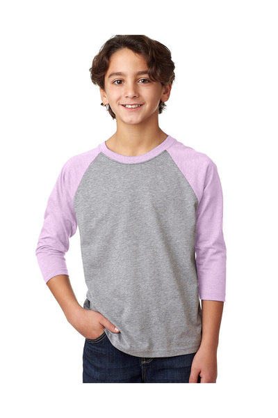 Next Level 3352 Youth CVC Jersey 3/4 Sleeve Crewneck T-Shirt Heather Grey/Lilac Pink Front
