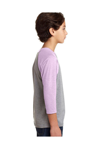 Next Level 3352 Youth CVC Jersey 3/4 Sleeve Crewneck T-Shirt Heather Grey/Lilac Pink Side