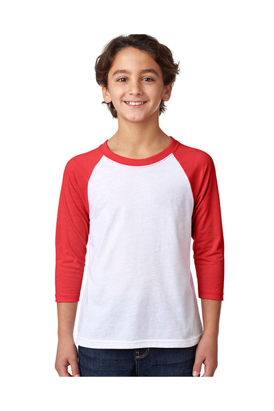 Next Level 3352 Youth CVC Jersey 3/4 Sleeve Crewneck T-Shirt White/Red Front