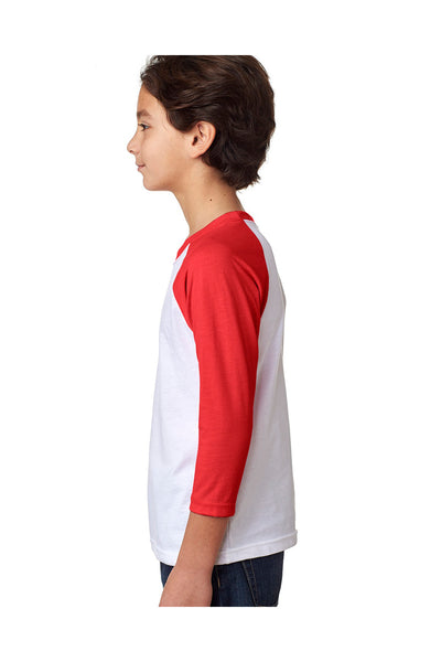 Next Level 3352 Youth CVC Jersey 3/4 Sleeve Crewneck T-Shirt White/Red Side