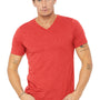 Bella + Canvas Mens Short Sleeve V-Neck T-Shirt - Red