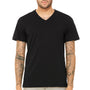 Bella + Canvas Mens Short Sleeve V-Neck T-Shirt - Heather Black