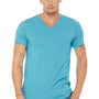 Bella + Canvas Mens Short Sleeve V-Neck T-Shirt - Aqua Blue