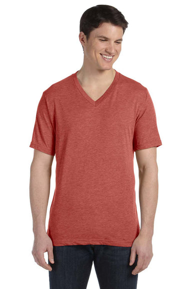 Bella + Canvas 3415C Mens Short Sleeve V-Neck T-Shirt Clay Red Front
