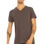Bella + Canvas Mens Short Sleeve V-Neck T-Shirt - Brown