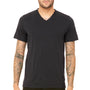 Bella + Canvas Mens Short Sleeve V-Neck T-Shirt - Solid Dark Grey