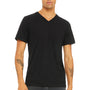 Bella + Canvas Mens Short Sleeve V-Neck T-Shirt - Solid Black