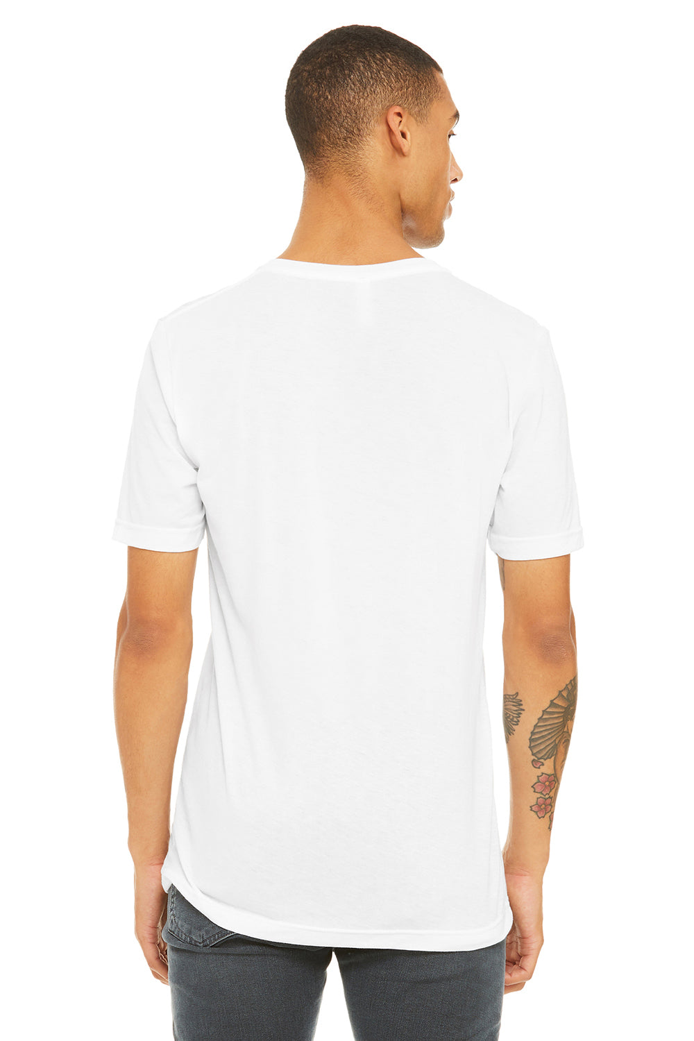 Bella + Canvas 3415C Mens Short Sleeve V-Neck T-Shirt White Back