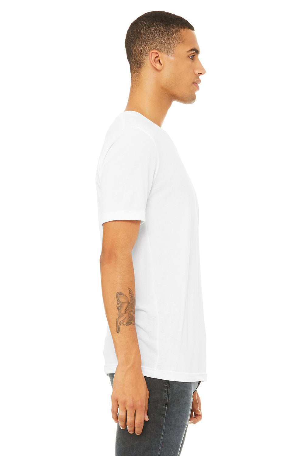 Bella + Canvas 3415C Mens Short Sleeve V-Neck T-Shirt White Side