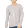 Bella + Canvas Mens White Fleck Jersey Long Sleeve V-Neck T-Shirt