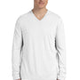 Bella + Canvas Mens White Jersey Long Sleeve V-Neck T-Shirt