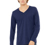 Bella + Canvas Mens Navy Blue Jersey Long Sleeve V-Neck T-Shirt