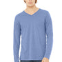Bella + Canvas Mens Blue Jersey Long Sleeve V-Neck T-Shirt
