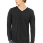 Bella + Canvas Mens Charcoal Black Jersey Long Sleeve V-Neck T-Shirt