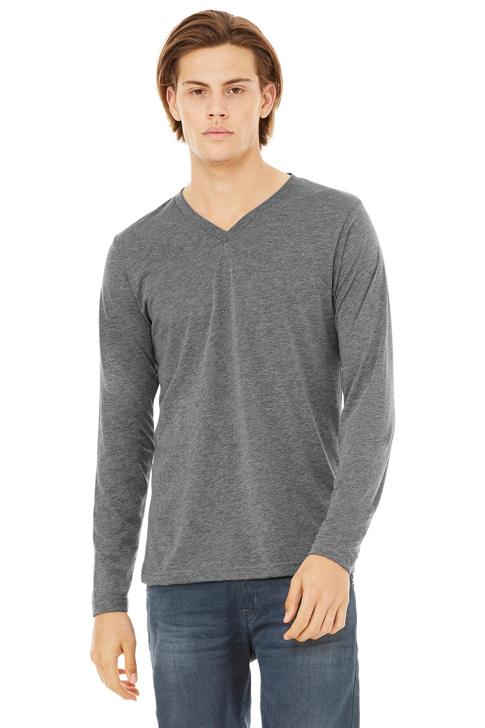 Bella + Canvas 3425 Mens Jersey Long Sleeve V-Neck T-Shirt Grey Front