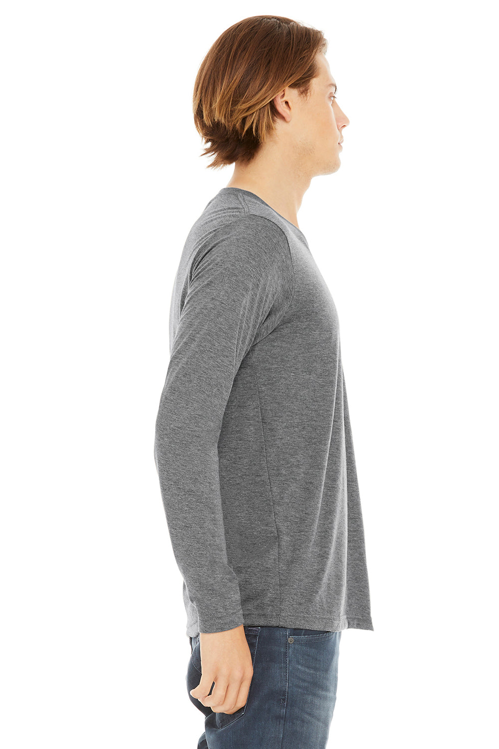 Bella + Canvas 3425 Mens Jersey Long Sleeve V-Neck T-Shirt Grey Side