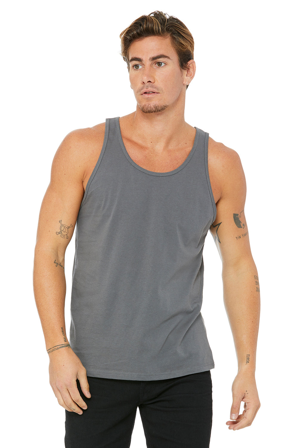 Bella + Canvas 3480 Mens Jersey Tank Top Asphalt Grey Front
