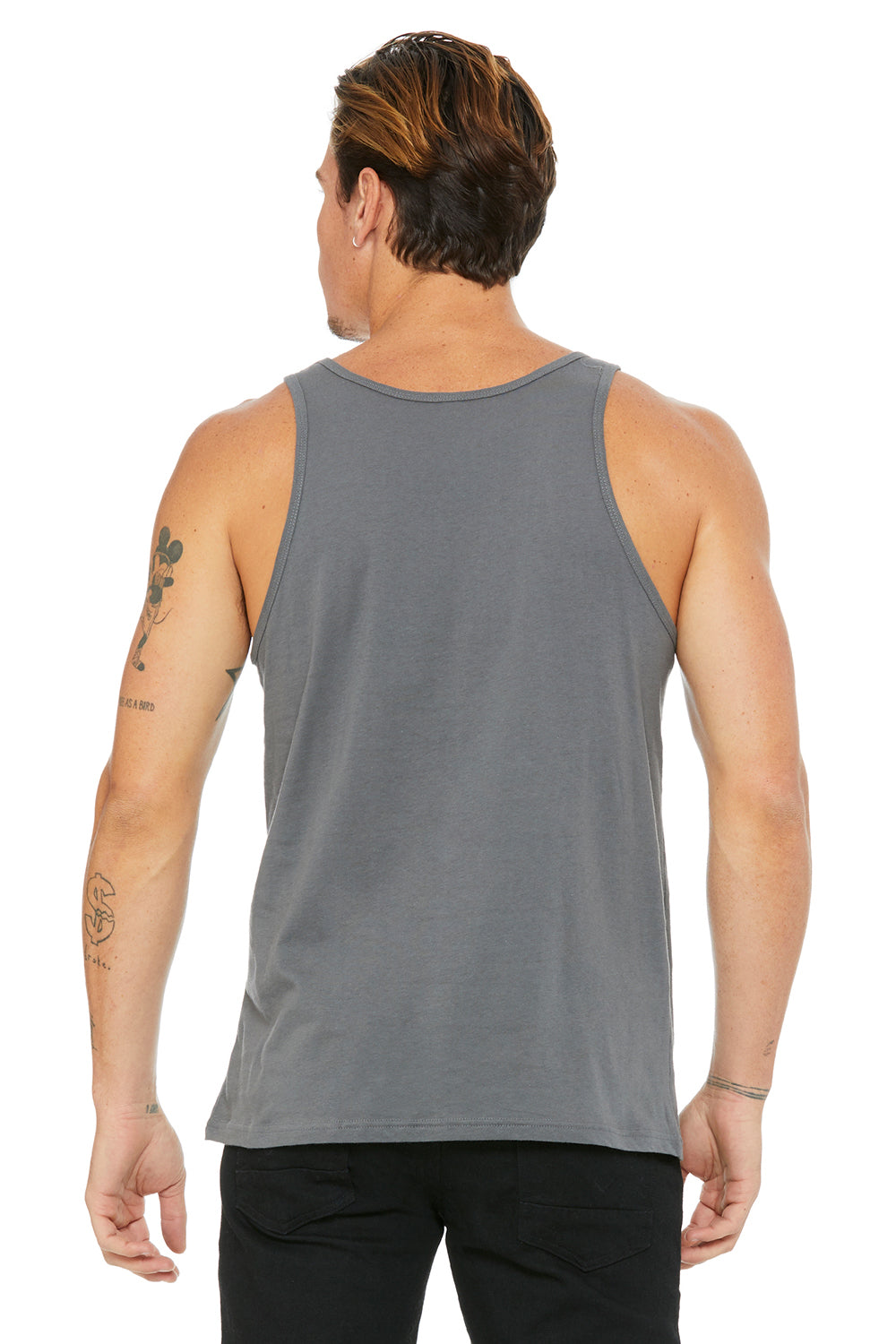 Bella + Canvas 3480 Mens Jersey Tank Top Asphalt Grey Back