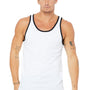 Bella + Canvas Mens White/Black Jersey Tank Top
