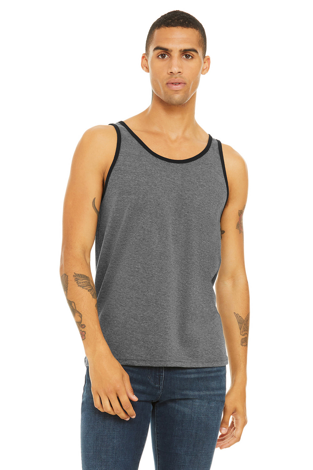 Bella + Canvas 3480 Mens Jersey Tank Top Heather Deep Grey/Black Front