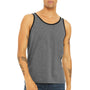 Bella + Canvas Mens Heather Deep Grey/Black Jersey Tank Top