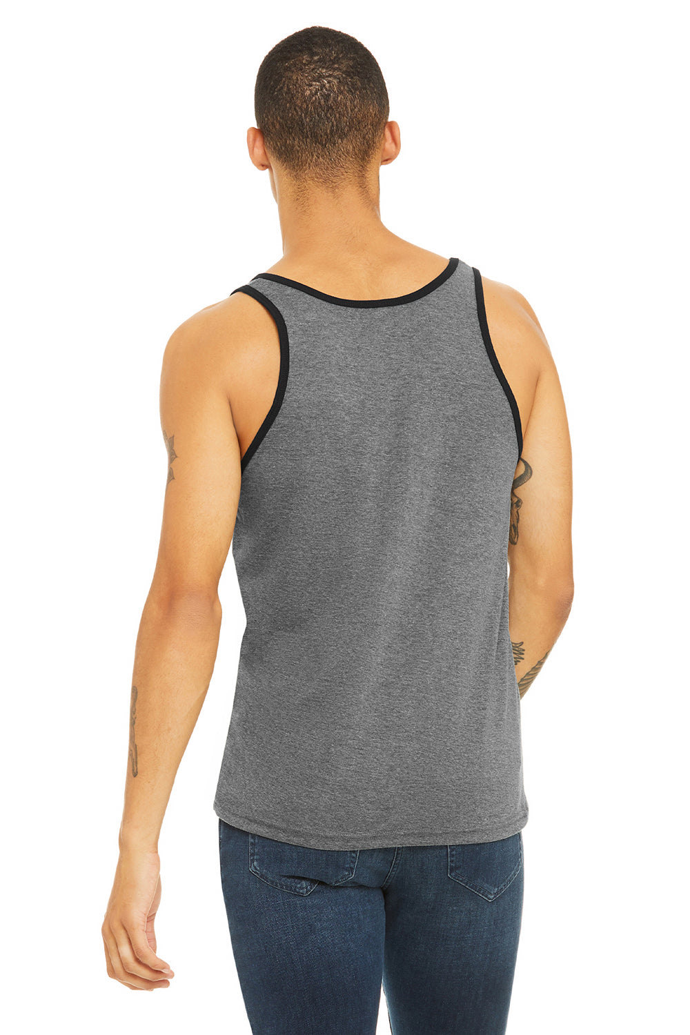 Bella + Canvas 3480 Mens Jersey Tank Top Heather Deep Grey/Black Back