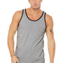 Bella + Canvas Mens Heather Grey/Black Jersey Tank Top