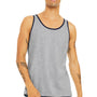 Bella + Canvas Mens Heather Grey/Navy Blue Jersey Tank Top