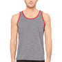 Bella + Canvas Mens Heather Deep Grey/Red Jersey Tank Top