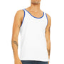 Bella + Canvas Mens White/True Royal Blue Jersey Tank Top