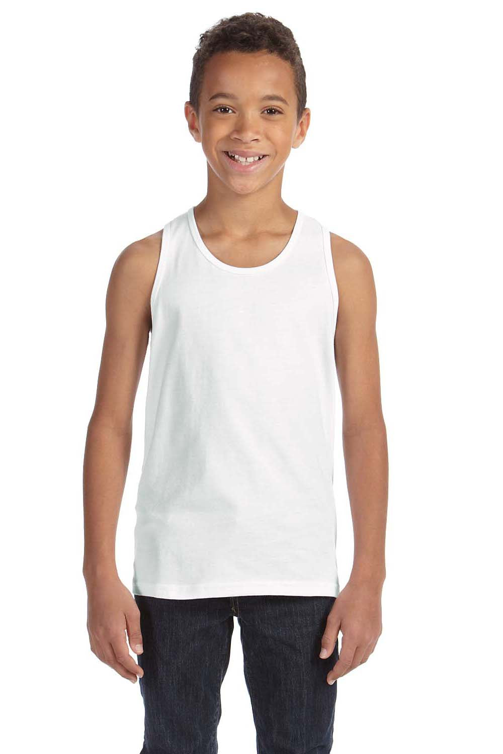 Bella + Canvas 3480Y Youth Jersey Tank Top White Front
