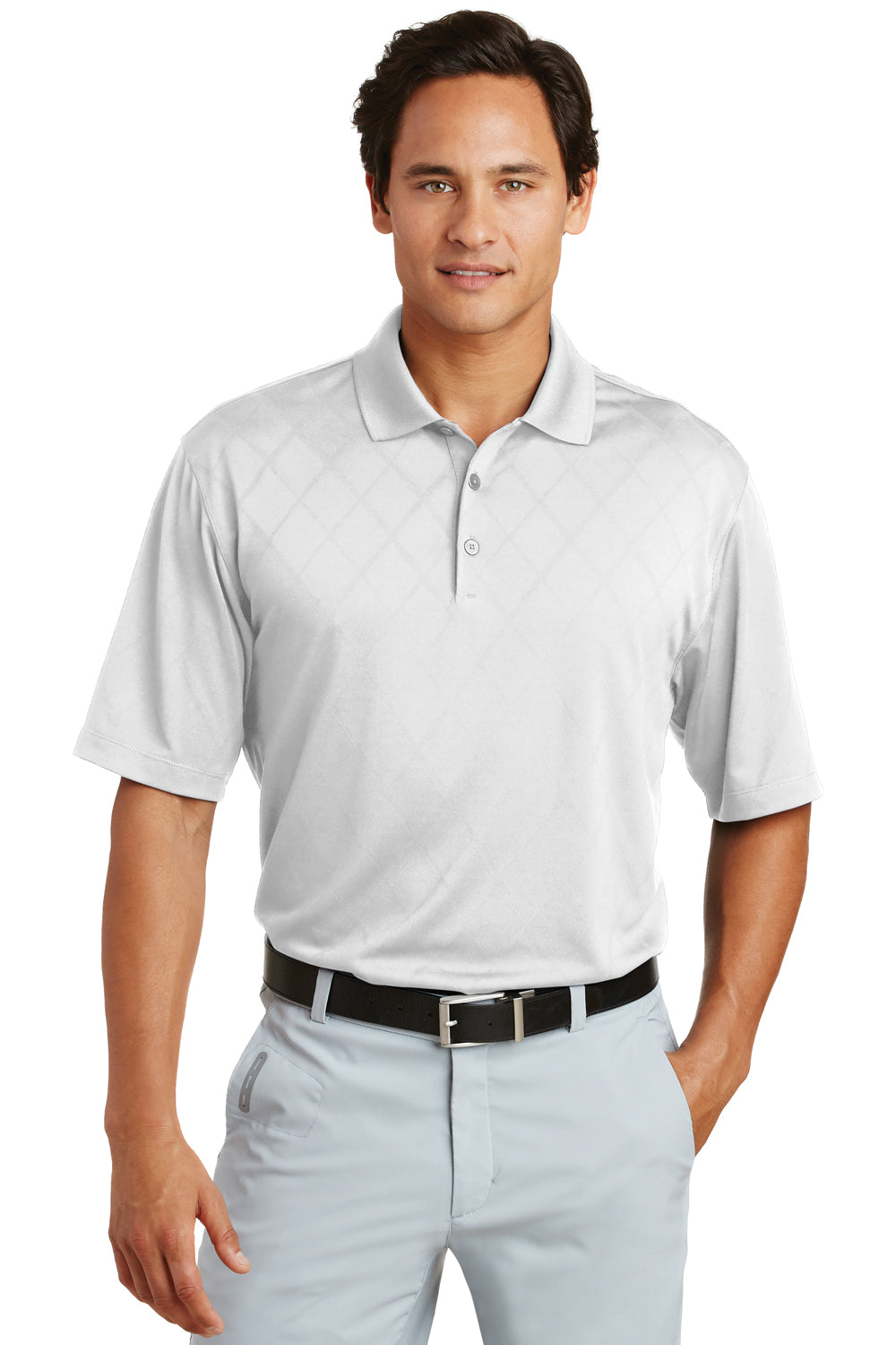Nike 349899 Mens Dri-Fit Moisture Wicking Short Sleeve Polo Shirt White Front