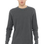 Bella + Canvas Mens Heather Deep Grey Thermal Long Sleeve Crewneck T-Shirt