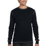 Bella + Canvas Mens Black/Grey Thermal Long Sleeve Crewneck T-Shirt