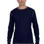 Bella + Canvas Mens Navy Blue/Grey Thermal Long Sleeve Crewneck T-Shirt