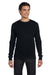 Bella + Canvas 3500 Mens Thermal Long Sleeve Crewneck T-Shirt Black Front