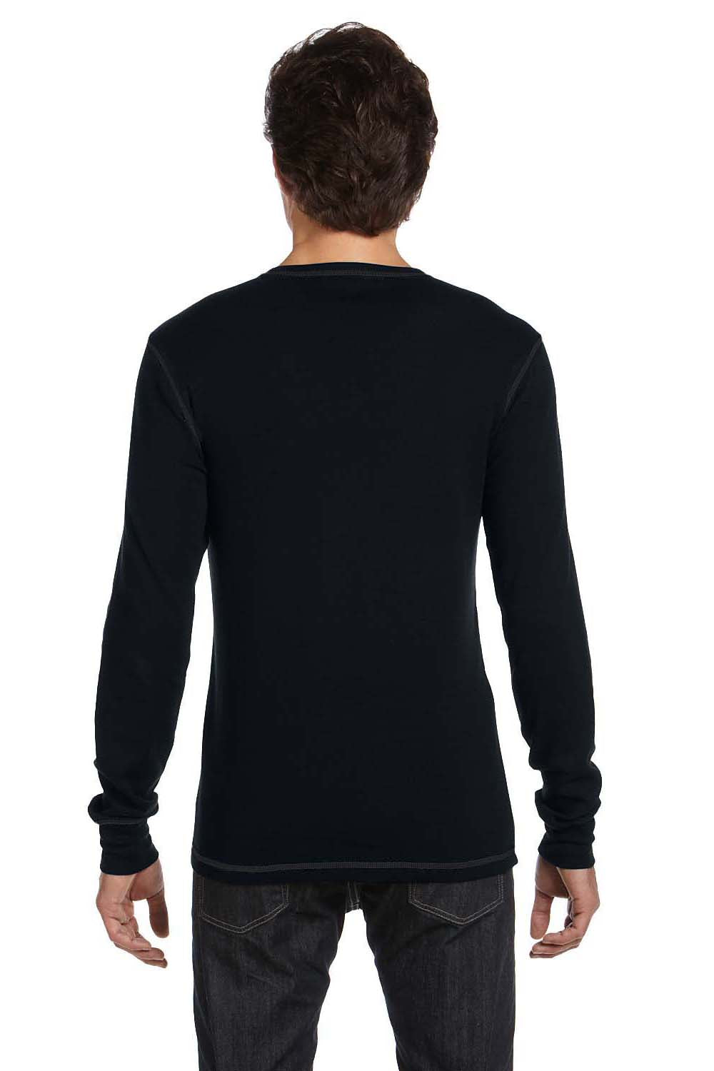 Bella + Canvas 3500 Mens Thermal Long Sleeve Crewneck T-Shirt Black Back